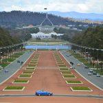 Parlementsgebouw Canberra vanuit War Memorial